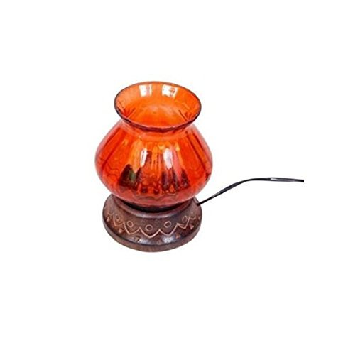 Wooden & Iron hand carved Colored Electric Chimney Lamp design Orange
