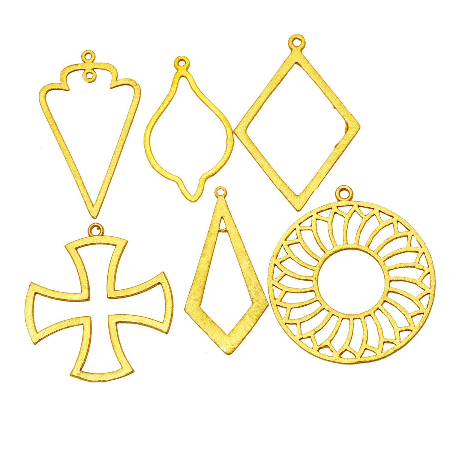 Brushed Gold Plated Cross Shape Metal Charms Pendant - Jewelry Findings Charms