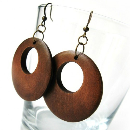 Wooden round Earrings