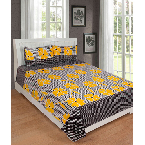 Yellow Cotton Bed Sheet