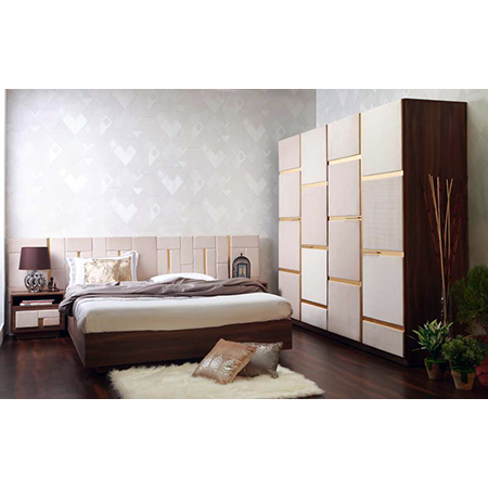 Bed with Night Stand, Wardrobe and Dressing