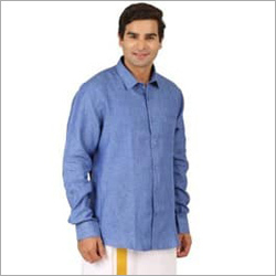 Mens Linen Navy Blue Shirt