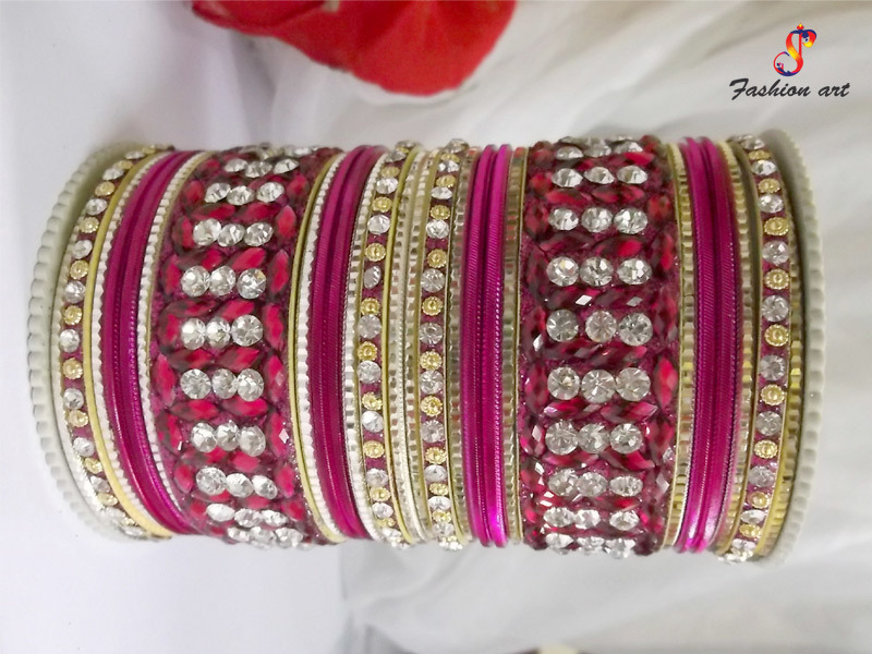 Hot Pink Stone Assoted Fancy metal Bangles