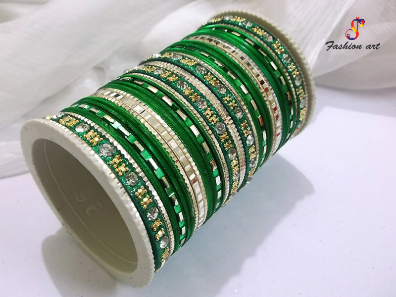 Fancy Stone Studded Metal Bangles