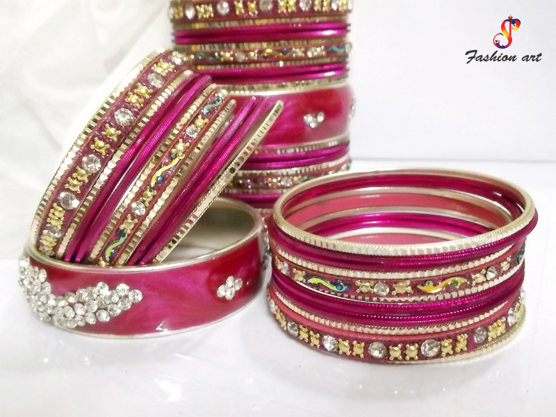 Hot Pink Colour Fancy Metal Bangle Set Studded with Stones