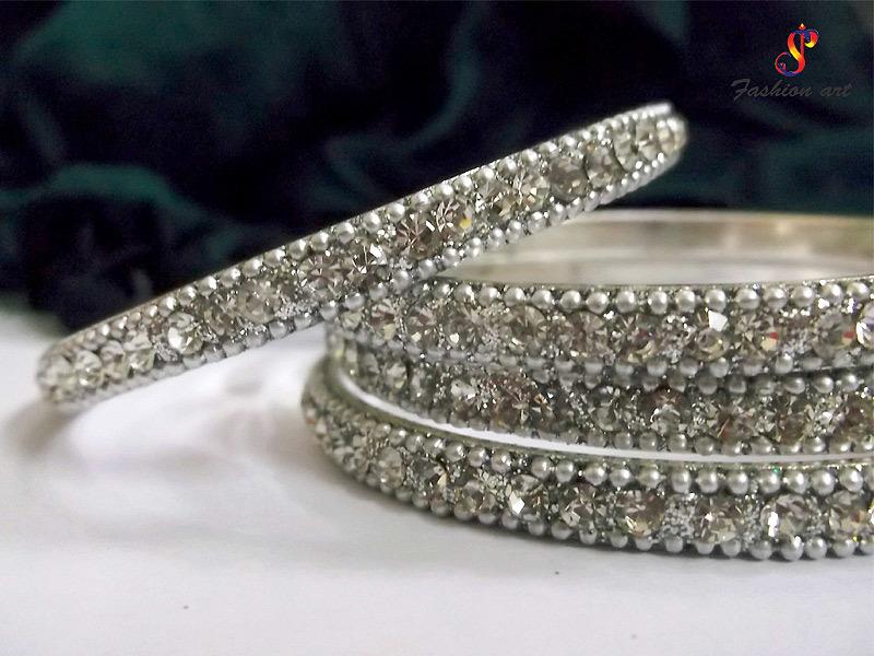 Uptron Full Diamond Studded Aluminium Metal Bangle-