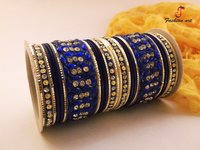 Stone Studded Fancy Metal Bangle Set