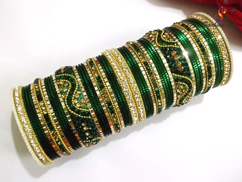 Dark Bottle Green Fancy Metal Bangle