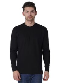Wake Up Competition Solid Men'S Round Neck Black T-Shirt