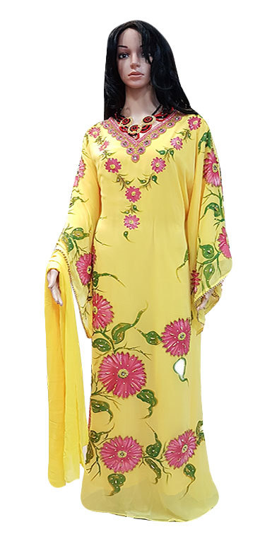 Ladies Kaftan for woman with Yellow Color