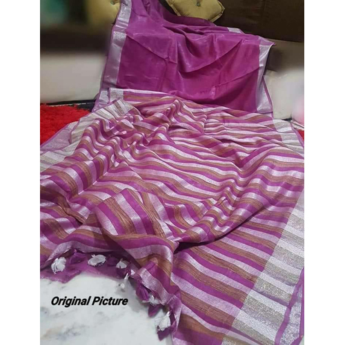Ladies Magenta Linen Saree