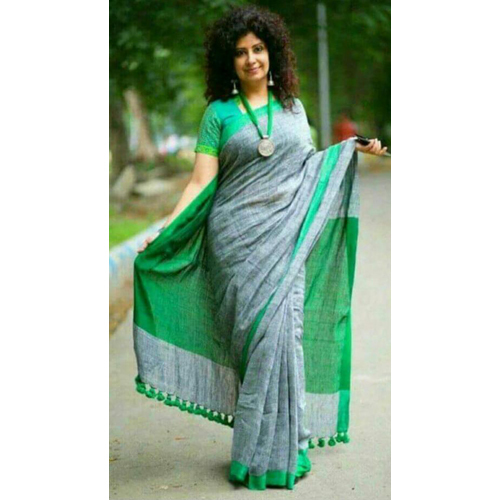 Ladies Linen Zari Saree