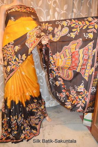 Hand painted Silk Batik Saree