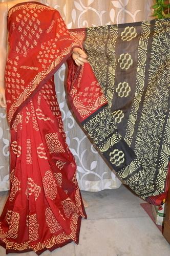 Block Print on Handloom Saree