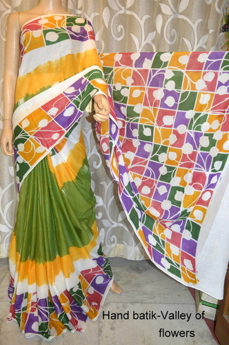 Hand Painted Cotton Batik Saree