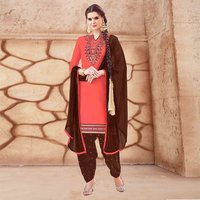 Glaze Cotton Embroidered Patiala Suit