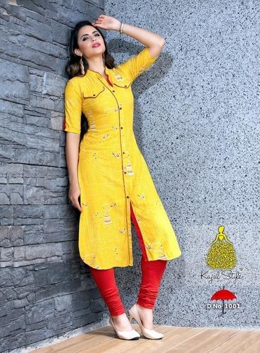 Kajal Style Designer Rayon Kurtis Collection