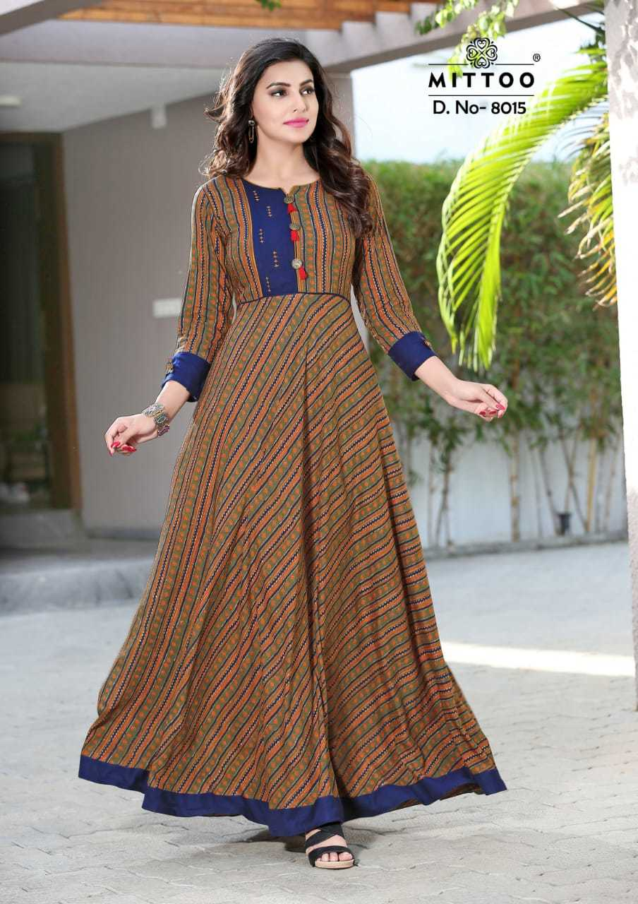 Mittoo Rayon Printed Heavy Long Gown Kurtis Wholesale