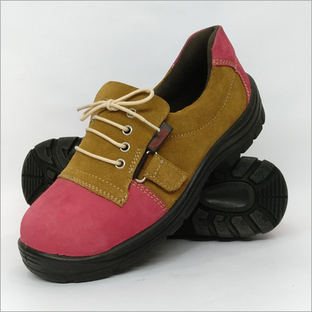 Brown Elastic Safety Shoes