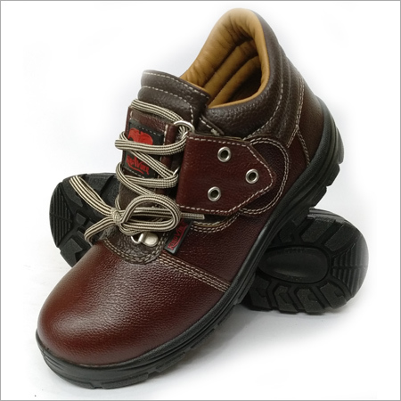 Mens Brown Low Ankle Safety Shoes