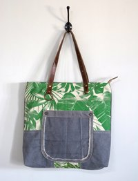 tropical print with canvas tote bag