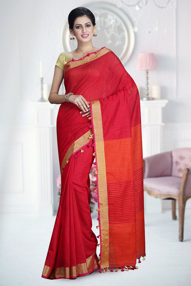 Rani Color designer Handloom Saree