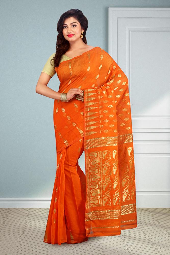 Buymyethnic Embroidered Jamdani Handloom Silk Cotton Blend Saree