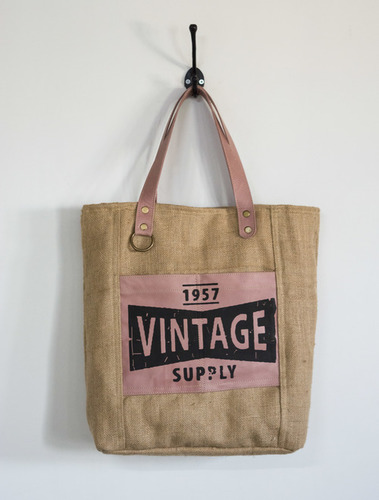 printed jute canvas tote bag