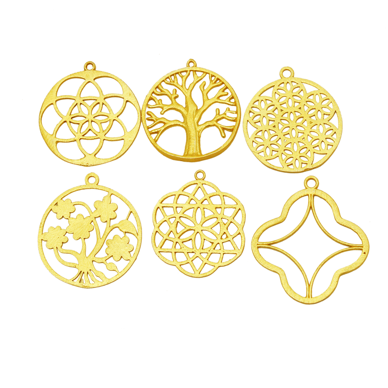Trendy Brushed Gold Plated Round Tree Design Metal Charms Pendant - Jewelry Findings Charms