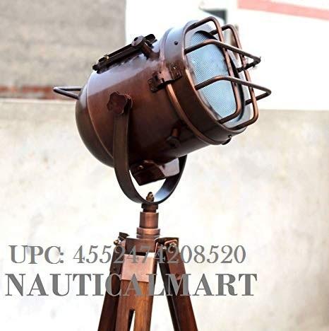 Industrial Nautical Studio Searchlight Tripod Studio Floor Lamp