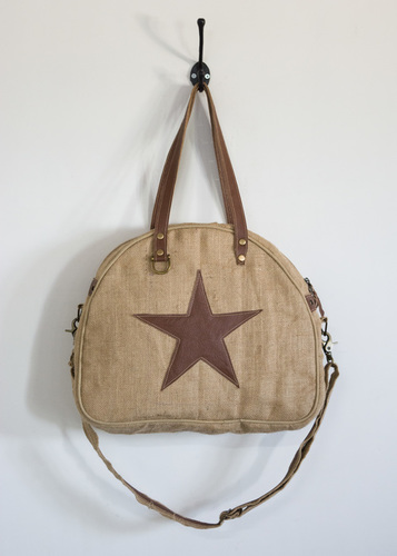 jute star patch tote bag