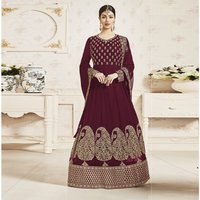 Semistitched Embroidery Work Churidar suit
