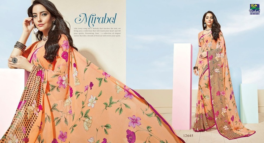 Pure Georgette Printed Sarees