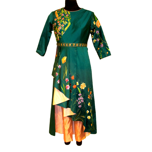Ladies Rama Green Draped Tunic