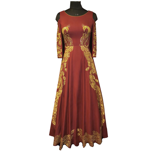 Ladies sleeve head cut designer gown
