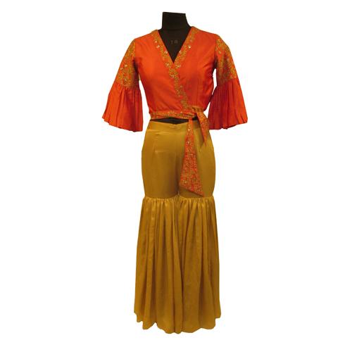 Ladies Designer crop top with sharara style plazo