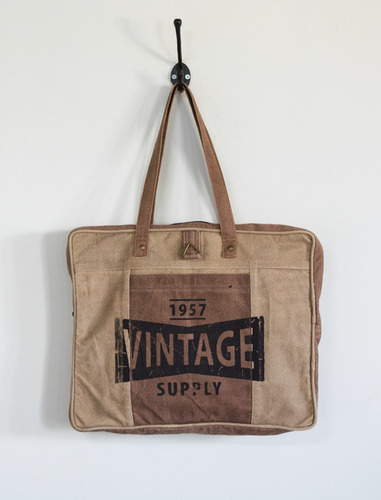 vintage jute canvas tote bag