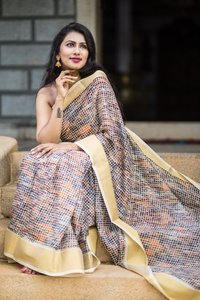 Tussar soft silk chex with zari border Saree