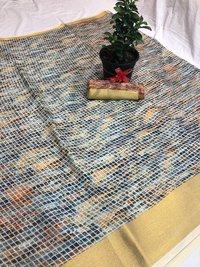 Tussar soft silk chex with zari border Saree