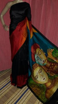 Hand Paint Silk Saree