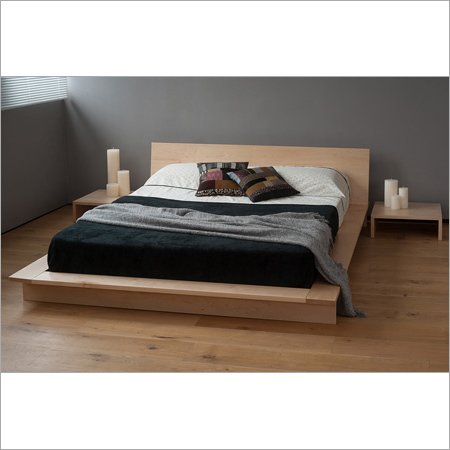 Wooden Platform Bed With Side Stool