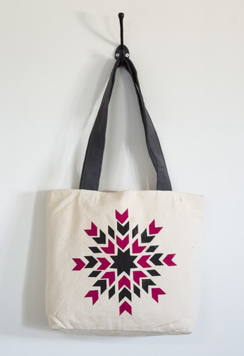 white canvas printed tote