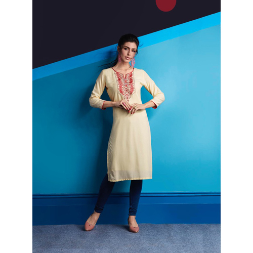 Ladies Beige Rayon Embroidered Work Kurtis