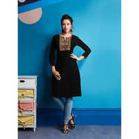 Ladies Black Rayon Embroidered Work Kurtis