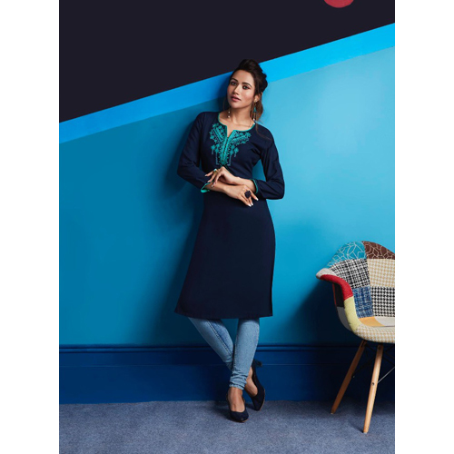 Ladies Blue Rayon Embroidered Work Kurtis