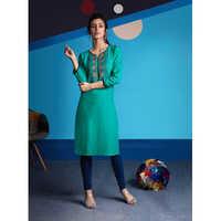 Ladies Greenish Rayon Embroidered Work Kurtis