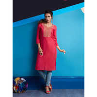 Ladies Red Rayon Embroidered Work Kurtis