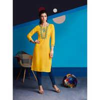 Ladies Yellow Rayon Embroidered Work Kurtis