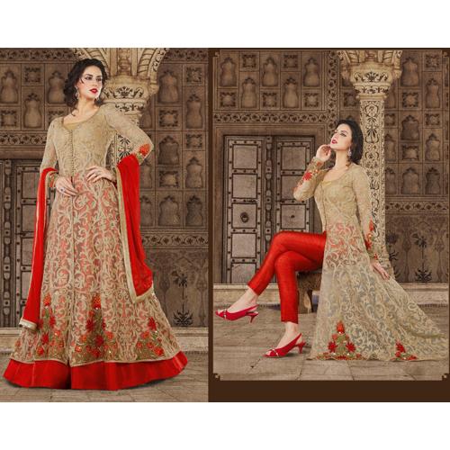 Ladies Heavy Banglore Silk Pants Red
