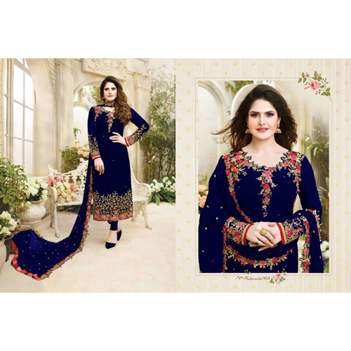 Ladies Blue Embroided Georgette Dress